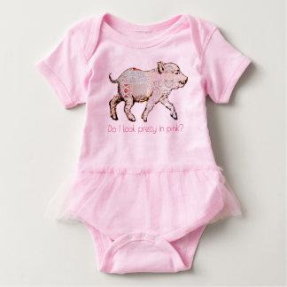 Body Para Bebé Cerdo y mariposas rosados