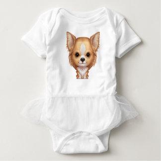 Body Para Bebé Chihuahua beige y blanca de pelo largo