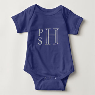 Body Para Bebé Con monograma abby azul y de plata
