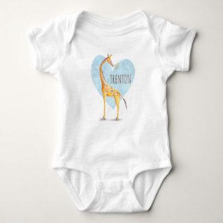 Body Para Bebé Corazón de la jirafa personalizado