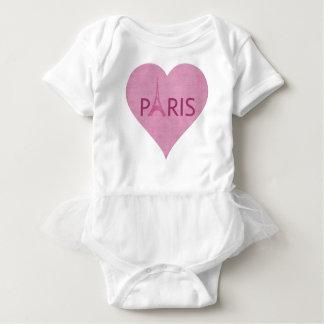 Body Para Bebé Corazón rosado de la torre Eiffel de París