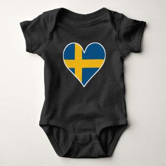 Body Para Bebé Corazón sueco de la bandera