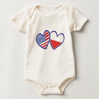 Body Para Bebé Corazones de la bandera de los E.E.U.U. Polonia