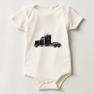 Body Para Bebé Del negro camión semi con las luces completas en
