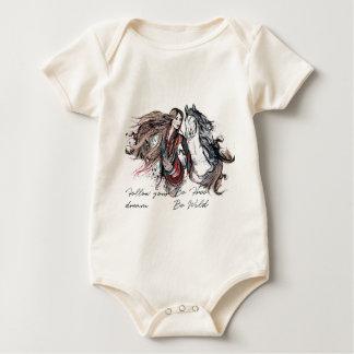 Body Para Bebé Diseño de Boho con el chica y el caballo