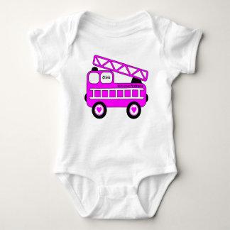 Body Para Bebé Diseño rosado brillante lindo del Firetruck de los