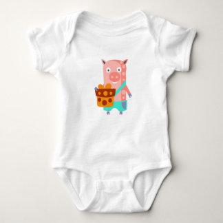 Body Para Bebé El cerdo con el fiesta atribuye enrrollado