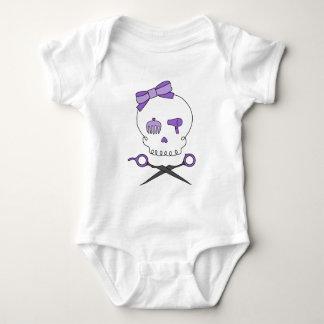Body Para Bebé El cráneo del estilista y Scissor la bandera