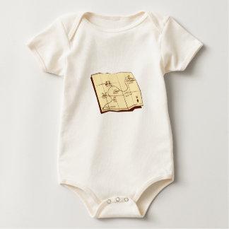 Body Para Bebé El mapa del rastro con X marca el grabar en madera