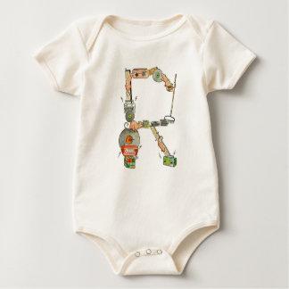 Body Para Bebé El mono orgánico de la letra R