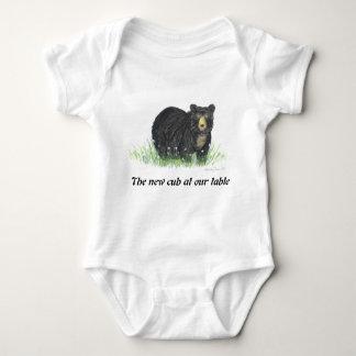 Body Para Bebé El oso negro en las flores blancas, bebé viste
