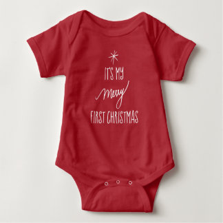 Body Para Bebé El primer navidad del bebé el | 1r navidad rojo y