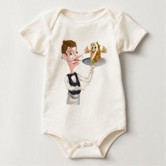 Body Para Bebé El señalar y Kebab del camarero del dibujo animado