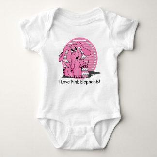 Body Para Bebé Elefante rosado divertido Chevron