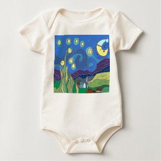 Body Para Bebé Enredadera de la noche de la noche estrellada