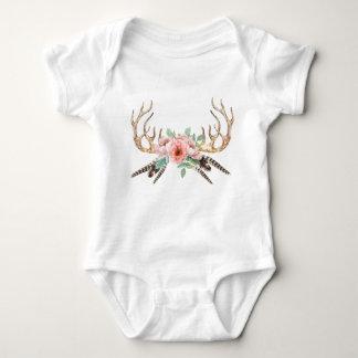 Body Para Bebé Equipo floral del bebé de la asta