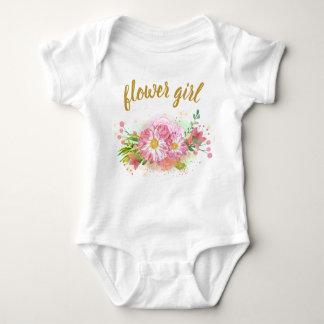 Body Para Bebé Equipo todo junto del rosa y del chica floral del
