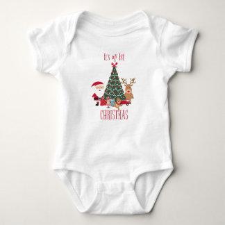 Body Para Bebé Es mi primer árbol de navidad Santa y reno
