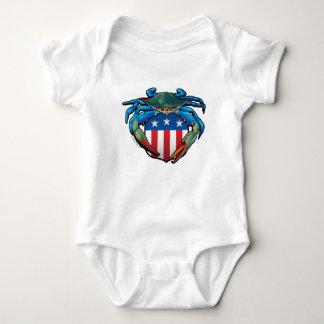 Body Para Bebé Escudo de los E.E.U.U. del cangrejo azul