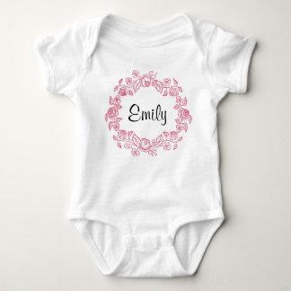 Body Para Bebé Floral del monograma personalizado