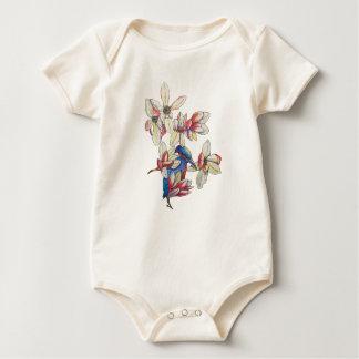 Body Para Bebé flores y un pájaro