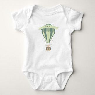 Body Para Bebé globo azul y verde del aire caliente personalizado