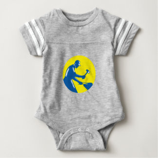 Body Para Bebé Grabar en madera del círculo del hierro de la