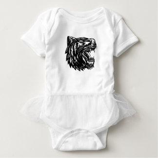 Body Para Bebé Grabar en madera del tigre el gruñir blanco y