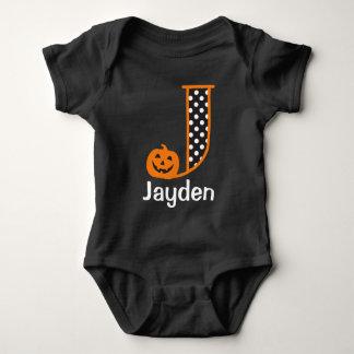 Body Para Bebé Inicial J del monograma de la calabaza del mono w