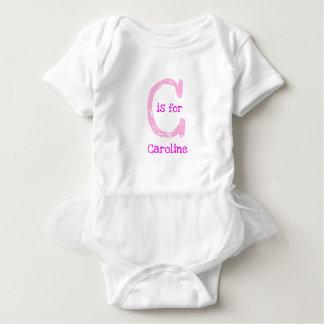 Body Para Bebé Inicial personalizada personalizable rosado del