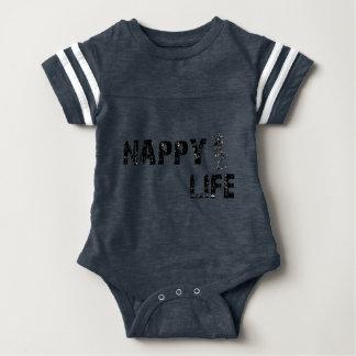 Body Para Bebé Insignia del mono w/Black del fútbol de la vida