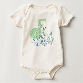 Body Para Bebé La música verde y azul observa el mono orgánico
