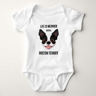Body Para Bebé La vida es más feliz con una Boston Terrier