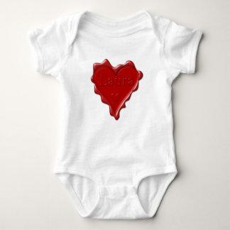 Body Para Bebé Laura. Sello rojo de la cera del corazón con Laura