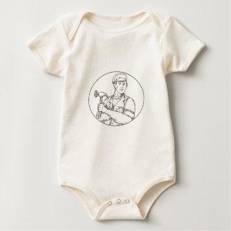 Body Para Bebé Línea del martillo del carpintero del vintage mono