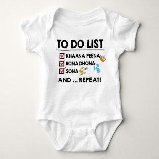 Body Para Bebé ¡Lista de lío del bebé de Desi! (Coma, llore,