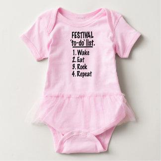 Body Para Bebé Lista del lío del ` del festival' (negro)