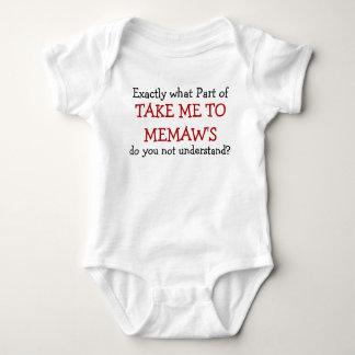 Body Para Bebé Lléveme al mono del niño del bebé de Memaw