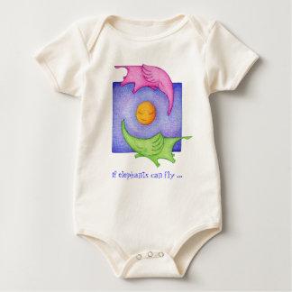 Body Para Bebé ¡Los elefantes pueden volar! Bebé de los gemelos