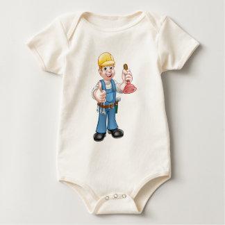 Body Para Bebé Manitas del fontanero que sostiene el émbolo