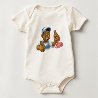 Body Para Bebé Manitas negra del fontanero del dibujo animado que