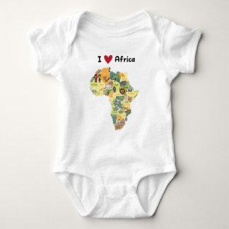 Body Para Bebé Mapa africano del safari - corazón África de I -