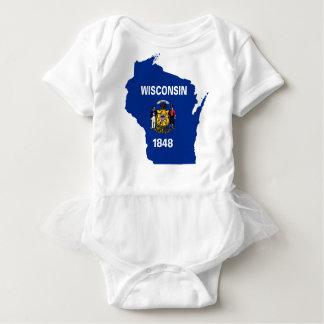 Body Para Bebé Mapa de la bandera de Wisconsin