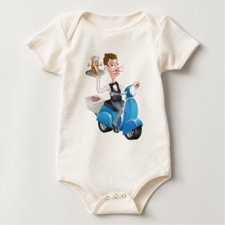 Body Para Bebé Mayordomo del dibujo animado en el ciclomotor de