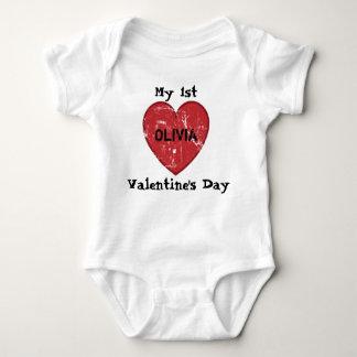 Body Para Bebé Mi nombre personalizado 1r el día de San Valentín