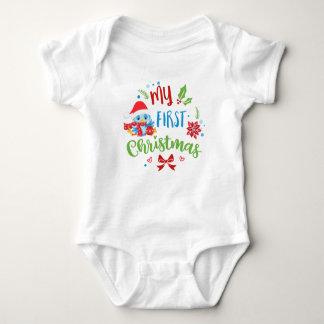 Body Para Bebé Mi pájaro azul del primer navidad en el gorra de