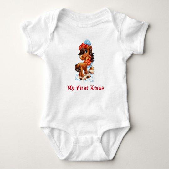 Body Para Bebé Mi primer caballo del bebé de Navidad