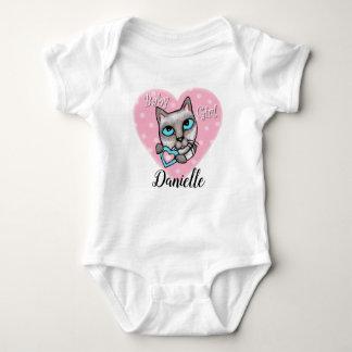 Body Para Bebé Mono de encargo del corazón de la niña del gato