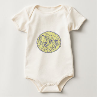 Body Para Bebé Mono oval que marcha de los soldados