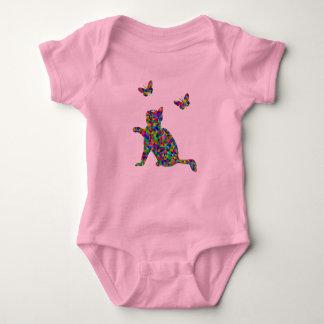 Body Para Bebé Mono prismático colorido del gato y de las